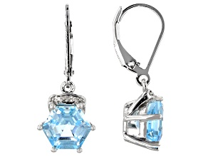 Sky blue topaz rhodium over silver earrings 5.28ctw