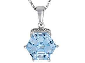 Sky blue topaz rhodium over silver pendant/chain 4.05ctw