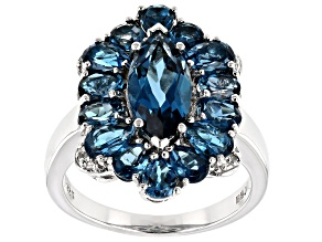 London Blue Topaz Rhodium Over Sterling Silver Ring 4.47ctw