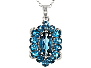 London Blue Topaz Rhodium Over Sterling Silver Pendant with Chain 4.47ctw