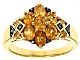 Orange spessartite 18k yellow gold over sterling silver ring 1.43ctw
