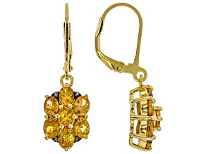 Orange spessartite 18k yellow gold over silver earrings 2.51ctw