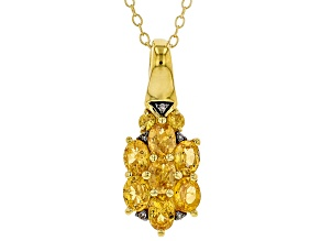 Orange Mandarin Garnet 18k yellow gold over silver pendant with chain 1.34ctw