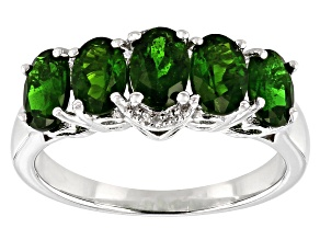 Green chrome diopside rhodium over sterling silver ring .63ctw