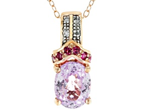 Pink Kunzite 18k Rose Gold Over Sterling Silver Pendant with Chain 2.14ctw