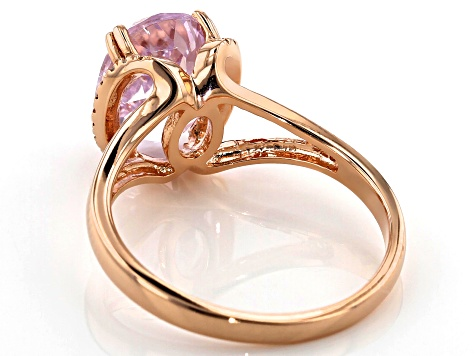 Pink kunzite 18k rose gold over silver ring 2.84ctw