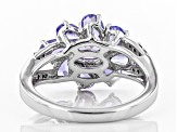 Blue tanzanite rhodium over sterling silver ring 1.66ctw