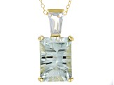 Green Prasiolite 18k Gold Over Sterling Silver Pendant with Chain 6.64ctw