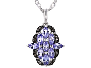 Blue tanzanite rhodium over sterling silver pendant with chain 1.25ctw