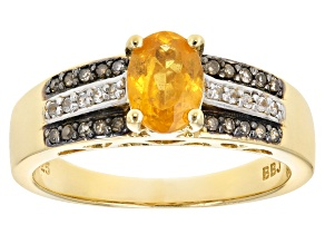 Orange Spessartite 18k Gold Over Silver ring .94ctw