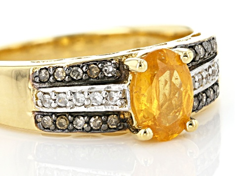 Orange Mandarin Garnet 18k Gold Over Silver ring .94ctw