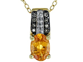 Orange Spessartite 18k Gold Over Silver Pendant with Chain .85ctw