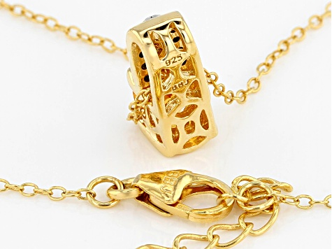 Orange Mandarin Garnet 18k Gold Over Silver Pendant with Chain .85ctw