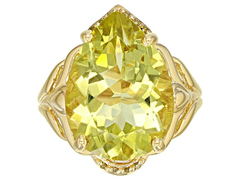 Yellow Canary quartz 18k yellow gold over silver ring 8.84ctw