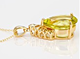 Yellow Canary quartz 18k yellow gold over silver pendant with chain 8.83ctw