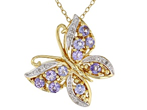 Blue tanzanite 18k yellow gold over silver pendant with chain 1.06ctw