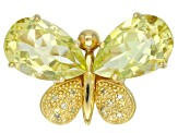 Yellow canary quartz 18k gold over silver butterfly ring 7.49ctw