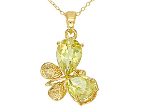 Yellow canary quartz 18k gold over silver butterfly pendant with chain 4.96ctw