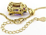 Bi-Color Ametrine 18k Gold Over Silver Pendant with Chain 4.22ctw