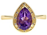 Purple amethyst 18k yellow gold over silver ring 1.56ctw