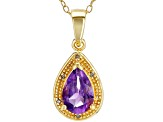 Purple amethyst 18k yellow gold over silver pendant with chain 1.03ctw