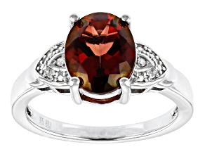 Red Labradorite Rhodium Over Sterling Silver Ring 1.96ctw