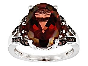 Red labradorite rhodium over silver ring 4.67ctw