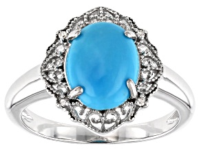 Blue turquoise rhodium over silver ring .02ctw