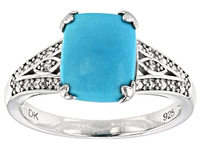 Blue Sleeping Beauty turquoise rhodium over silver ring .04ctw