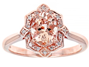 Pink morganite 18k rose gold over silver ring .98ctw