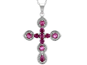 Red Burmese Ruby Rhodium Over Silver Cross Pendant with Chain 1.19ctw
