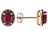 Red Ruby 18k Rose Gold Over Silver Earrings 1.67ctw
