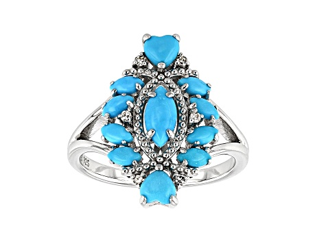 Blue Sleeping Beauty turquoise rhodium over silver ring .05ctw