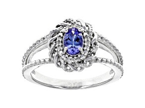 Blue Tanzanite Rhodium Over Sterling Silver Ring .40ctw