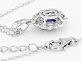 Blue Tanzanite Rhodium Over Sterling Silver Pendant with Chain .40ctw