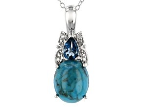 Blue Turquoise Rhodium Over Sterling Silver Pendant with Chain .42ctw
