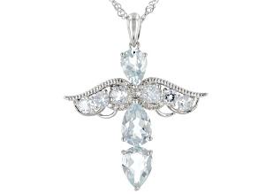 Blue aquamarine rhodium over silver pendant with chain 2.93ctw