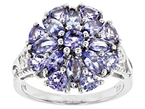 Blue tanzanite rhodium over silver ring 2.01ctw