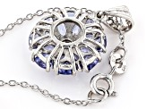 Blue tanzanite rhodium over silver pendant with chain 2.01ctw