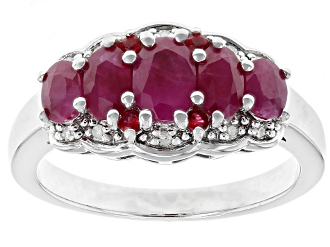 Red Burmese ruby rhodium over silver ring 1.68ctw