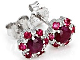 Red ruby rhodium over silver stud earrings .88ctw