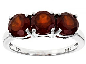 Red hessonite garnet rhodium over sterling silver 3-stone ring 2.75ctw