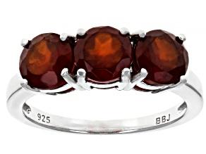 Red hessonite garnet rhodium over sterling silver 3-stone ring 2.75ctw