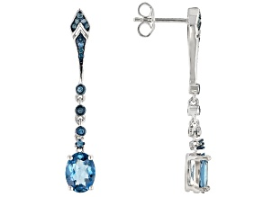 London blue topaz rhodium over silver earrings 2.73ctw