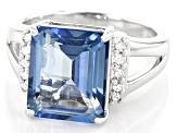 Blue Turquoise™ color topaz rhodium over silver ring 5.96ctw