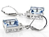 Blue Turquoise™ color topaz rhodium over silver earrings 7.10ctw