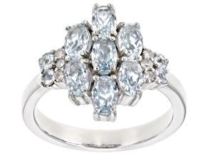 Blue aquamarine rhodium over sterling silver ring 1.36ctw