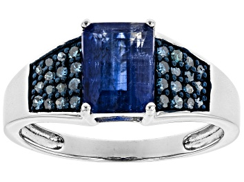 Picture of Blue kyanite rhodium over silver ring 1.97ctw