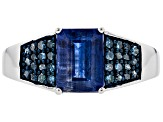 Blue kyanite rhodium over silver ring 1.97ctw