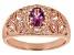 Pink garnet 18k rose gold over sterling silver ring .57ctw